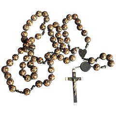 Large Nuns Rosary with Ebony Crucifix from Lourdes France