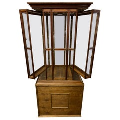 Large Oak 4 Fan Ribbon Display Cabinet on Later Stand