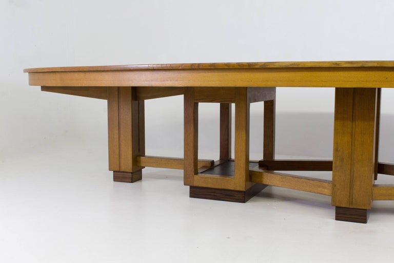Dutch Large Oak Art Deco Haagse School Conference Table, 1920s For Sale