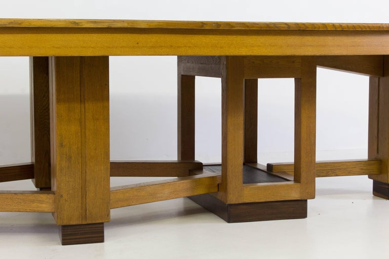 Early 20th Century Large Oak Art Deco Haagse School Conference Table, 1920s For Sale