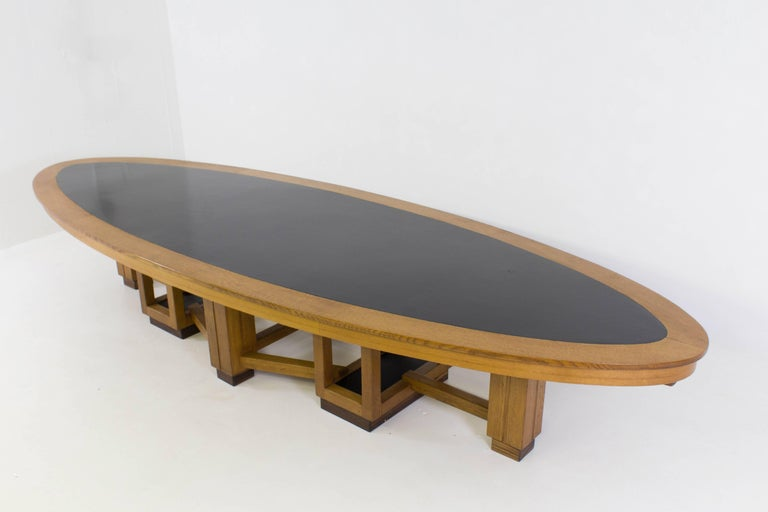 Large Oak Art Deco Haagse School Conference Table, 1920s For Sale 1
