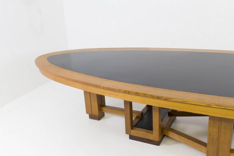 Large Oak Art Deco Haagse School Conference Table, 1920s For Sale 2