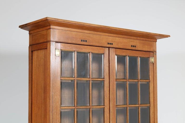 Large Oak Arts & Crafts Art Nouveau Bookcase, 1900s For Sale 2