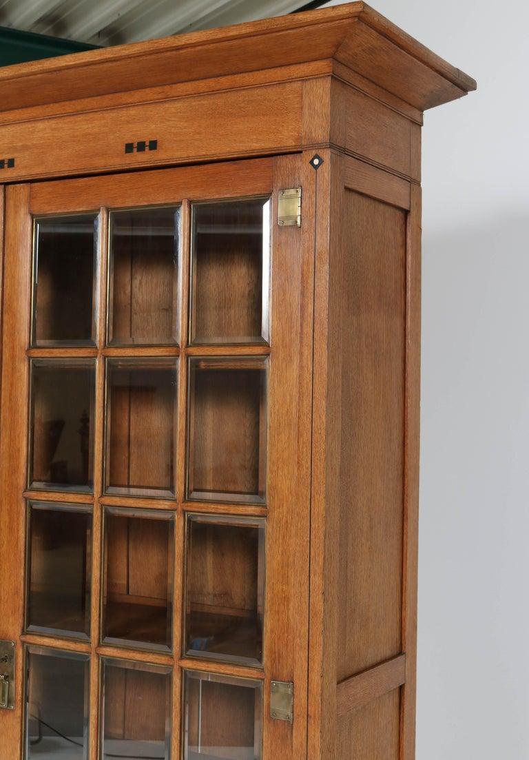 Large Oak Arts & Crafts Art Nouveau Bookcase, 1900s For Sale 5
