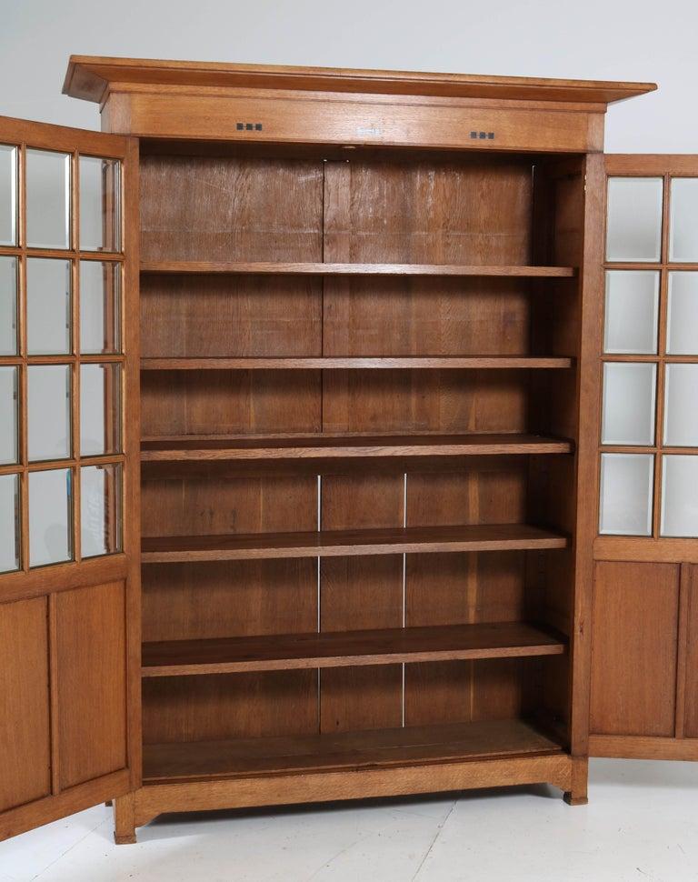 Dutch Large Oak Arts & Crafts Art Nouveau Bookcase, 1900s For Sale