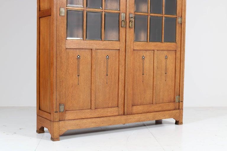 Beveled Large Oak Arts & Crafts Art Nouveau Bookcase, 1900s For Sale
