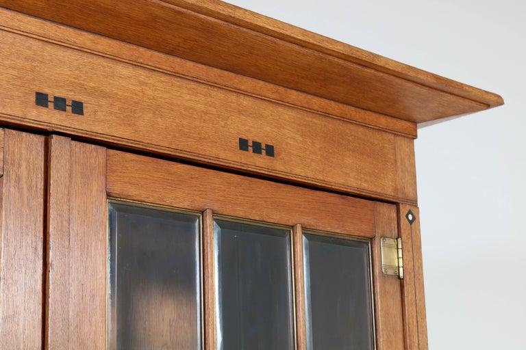 Large Oak Arts & Crafts Art Nouveau Bookcase, 1900s For Sale 1