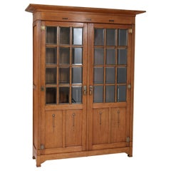 Large Oak Arts & Crafts Art Nouveau Bookcase, 1900s