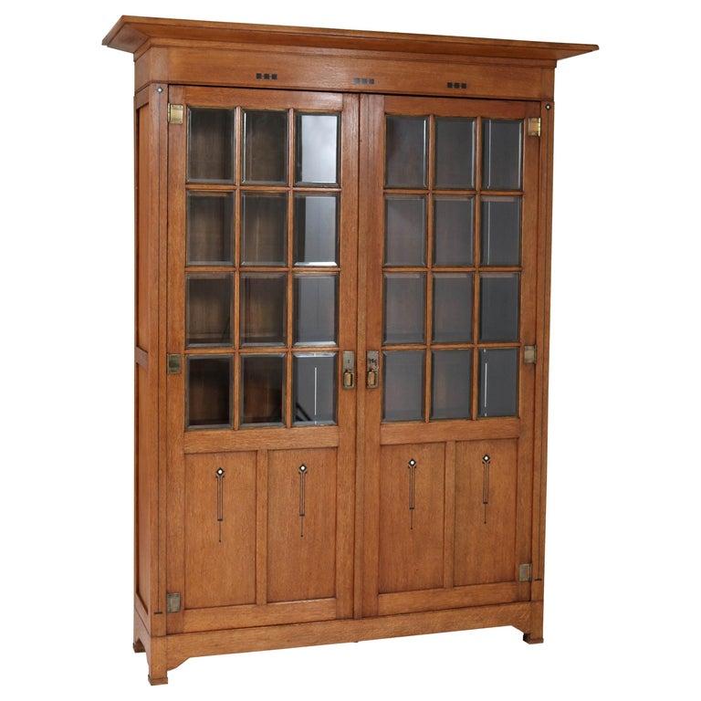 Large Oak Arts & Crafts Art Nouveau Bookcase, 1900s For Sale