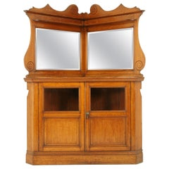 Antique Corner Cabinet, Mirror Back Oak Cabinet, Entryway,  Scotland 1900, B1620