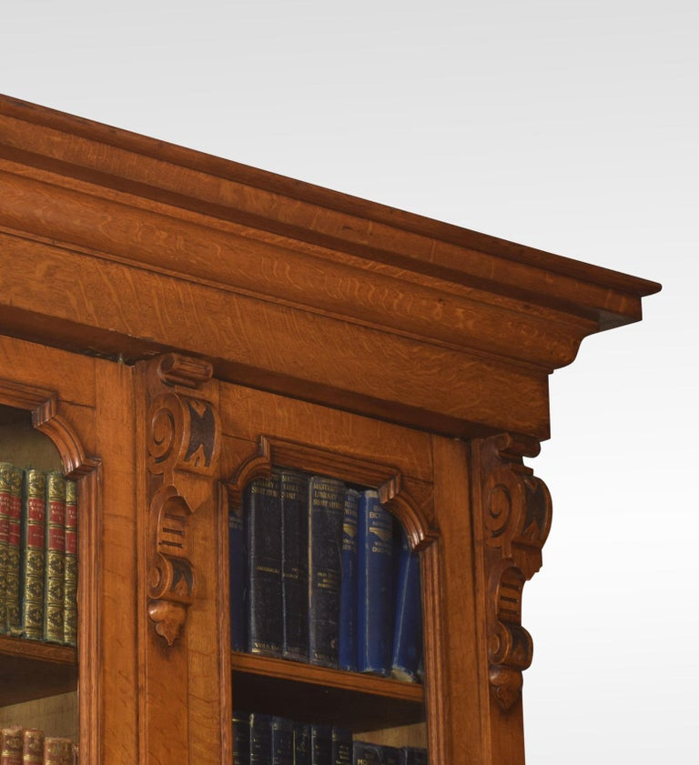 Large Oak Four-Door Bookcase For Sale 6