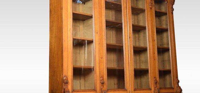 Large Oak Four-Door Bookcase For Sale 7