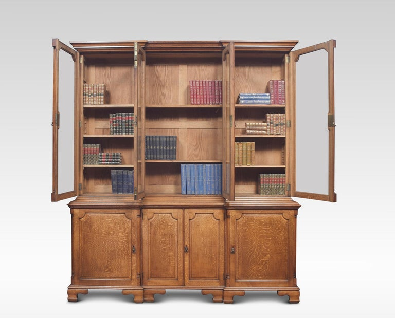 British Large Oak Four Door Bookcase For Sale