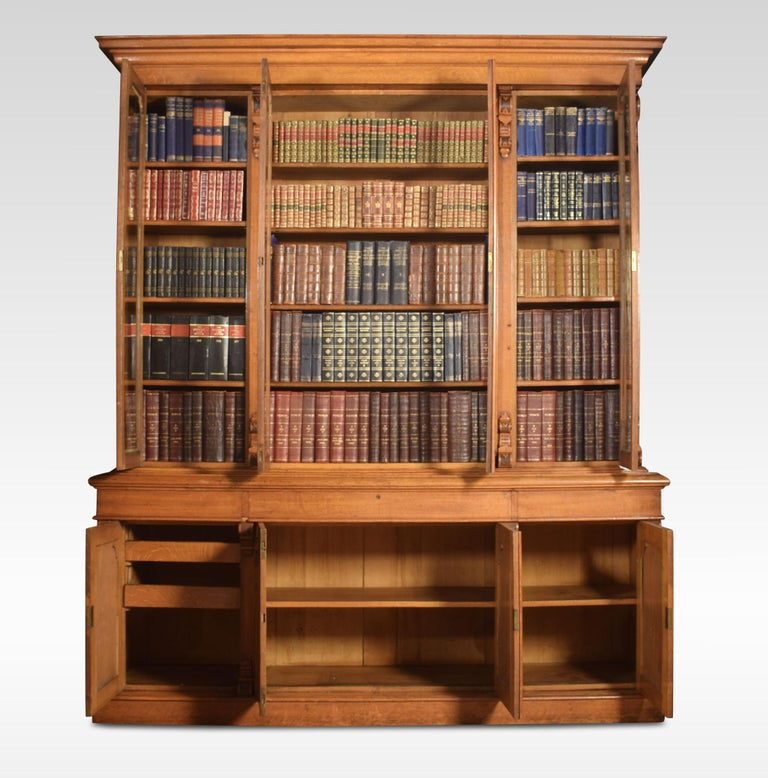 British Large Oak Four-Door Bookcase For Sale