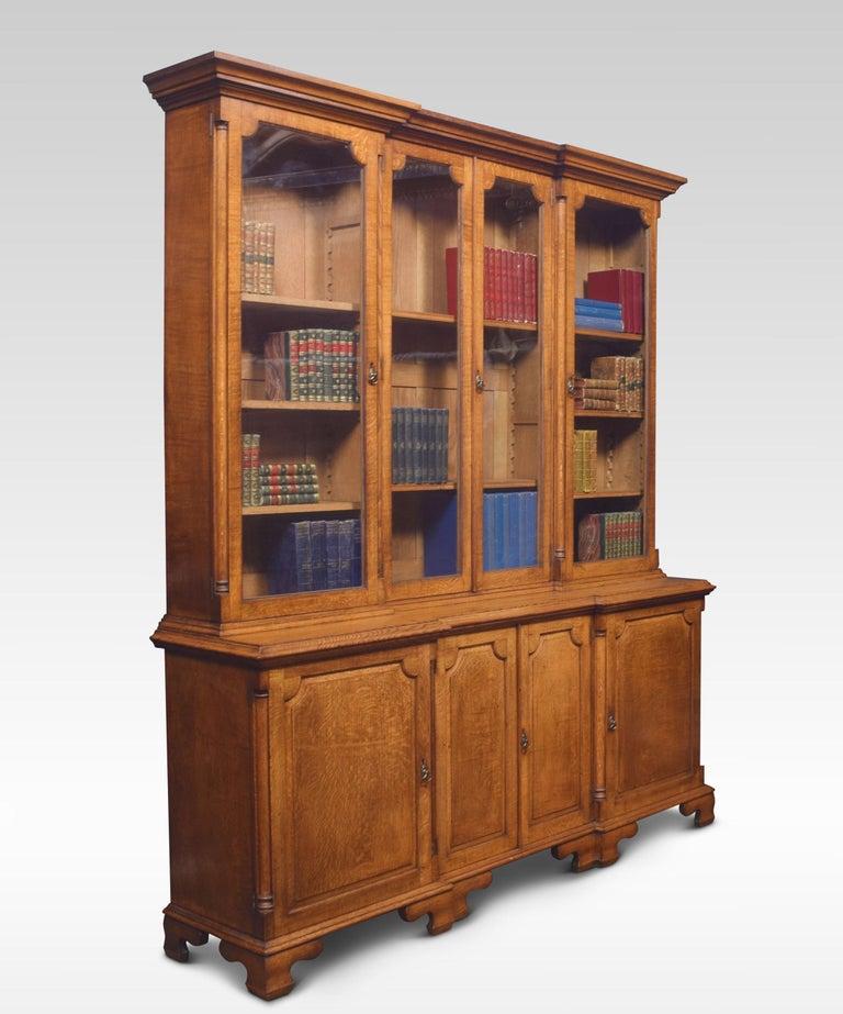 19th Century Large Oak Four Door Bookcase For Sale