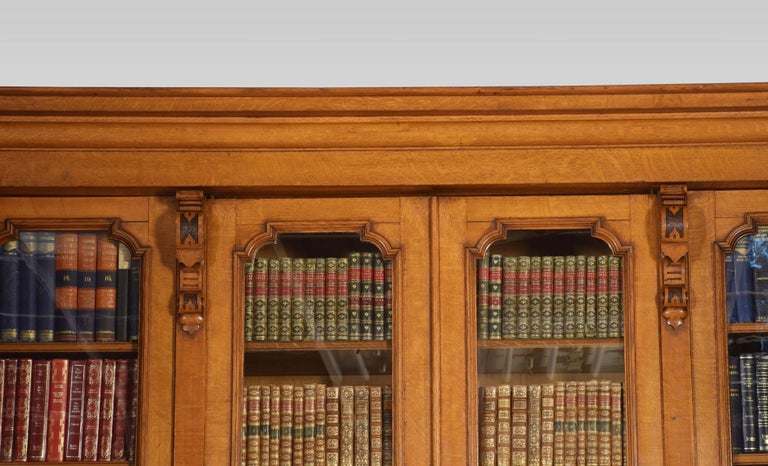 19th Century Large Oak Four-Door Bookcase For Sale