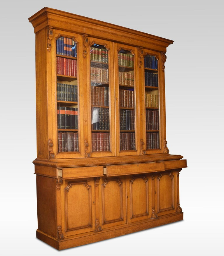 Large Oak Four-Door Bookcase For Sale 1