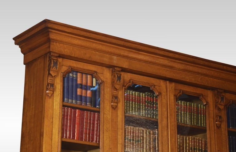 Large Oak Four-Door Bookcase For Sale 3