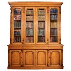 Large Oak Four-Door Bookcase