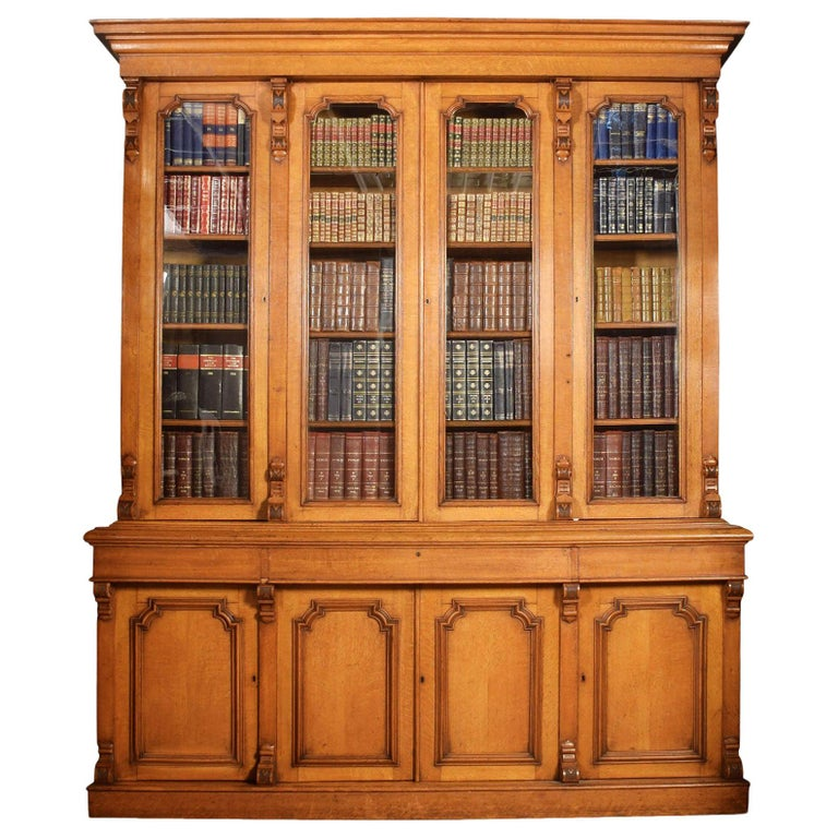 Large Oak Four-Door Bookcase For Sale