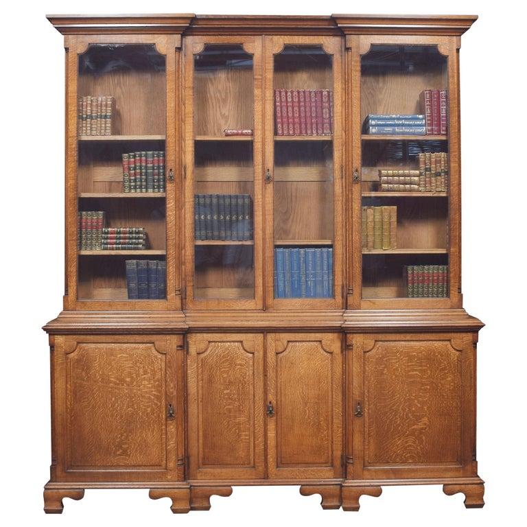 Large Oak Four Door Bookcase For Sale