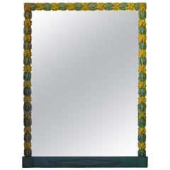 "Large ""Oak Leaf"" Motif Polychromed Mirror, France, 19th Century"