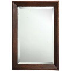Large Oak Modernist Mirror, Original Bevelled Glass, France, c. 1930's