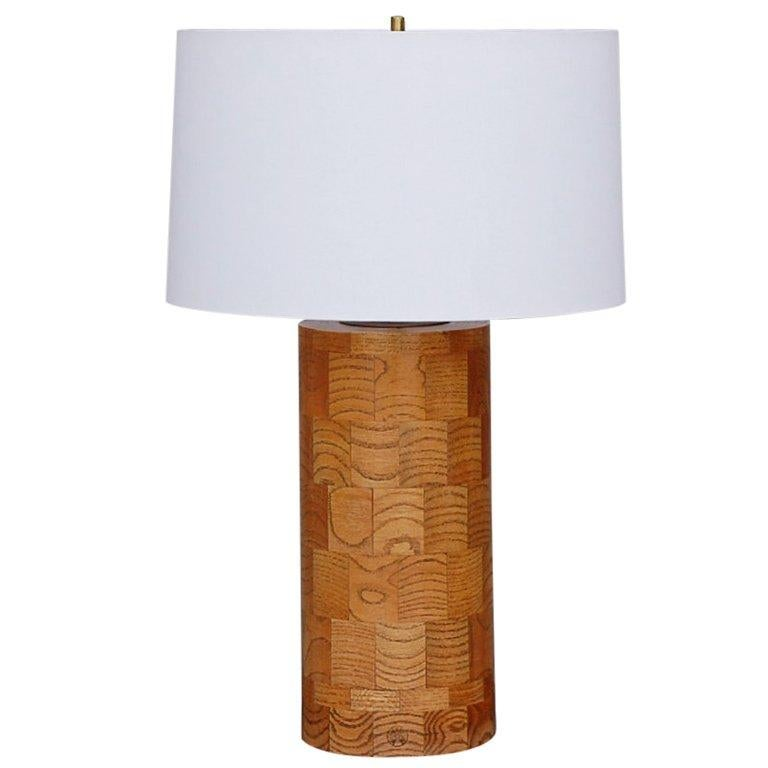 Large oak patchwork table lamp by Amter Craft For Sale