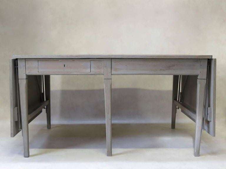 French Large Oak Table with Drop Leaves, France, circa 1920s For Sale