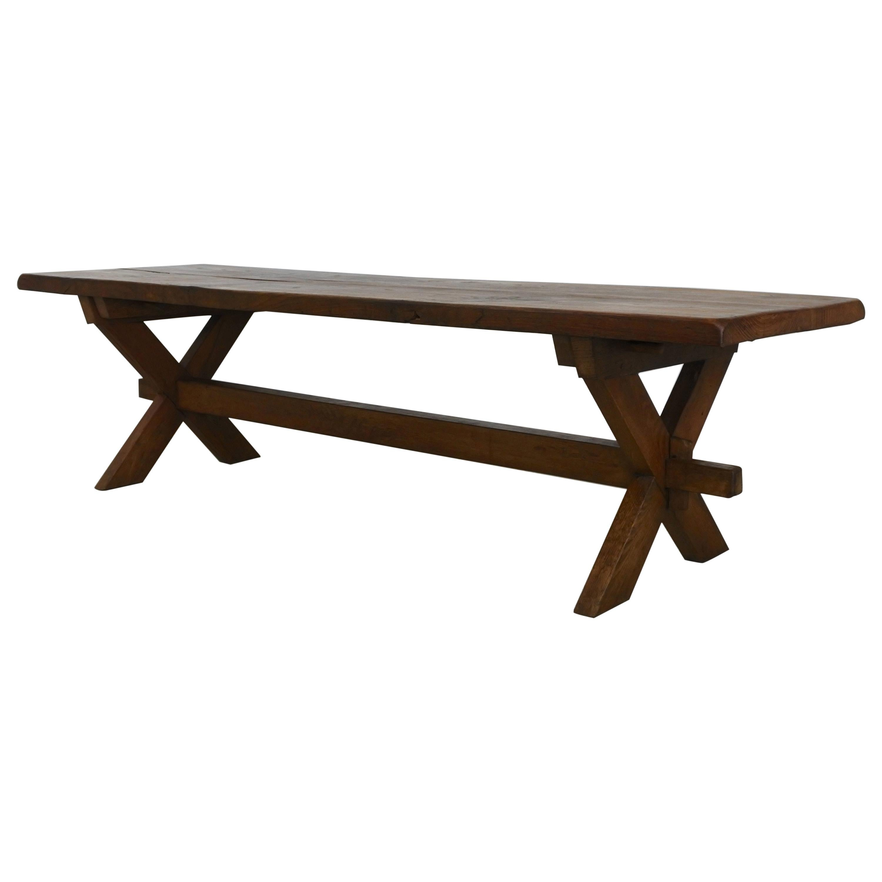 Large Oak Wood Coffee Table in the Style of Jean Michel Frank, France, 1940s