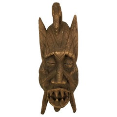 Large Oceanic or African Tribal Hand Carved Wood Deity Devil Mask