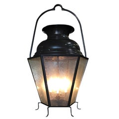 Large Octagon Bronze 4-Light Lantern Chandelier with Handle
