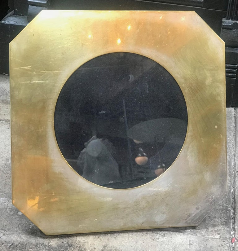 Large vintage octagonal Italian 1960s brass picture frame. Minor scuffs to chrome and patina to brass. Back in velvet.
