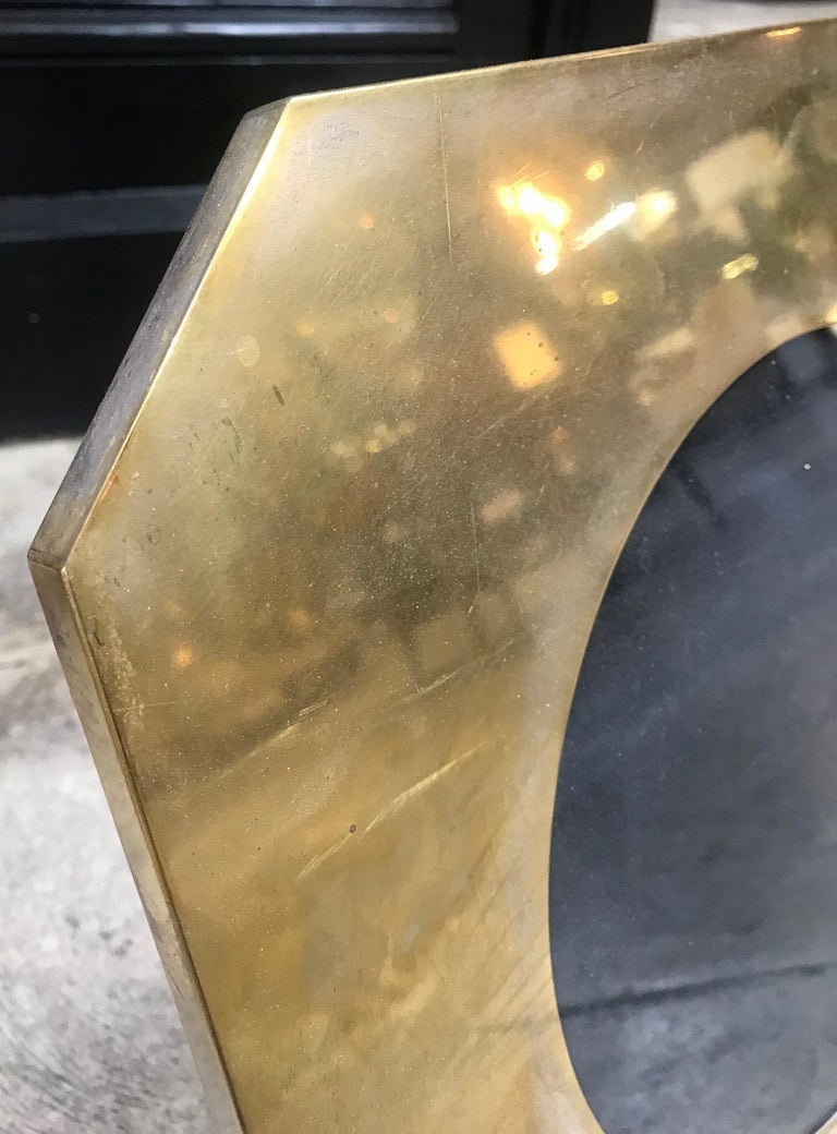 Large Octagonal Brass Picture Frame, Italy, 1960s In Good Condition For Sale In Los Angeles, CA