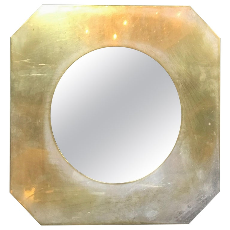 Large Octagonal Brass Picture Frame, Italy, 1960s For Sale