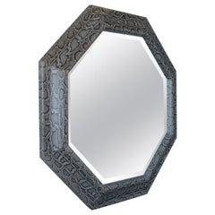 Large Octagonal Mirror in Grey Python, circa 1980