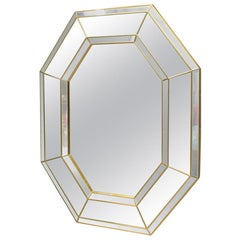 Large Octagonal Wall Mirror in Gold, Belgium, 1990s