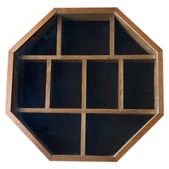 Large Octagonal Wood and Glass Shadow Box or Collectible Box with Latch