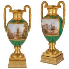 Large of Large Gilt Bronze Mounted Porcelain Vases by KPM