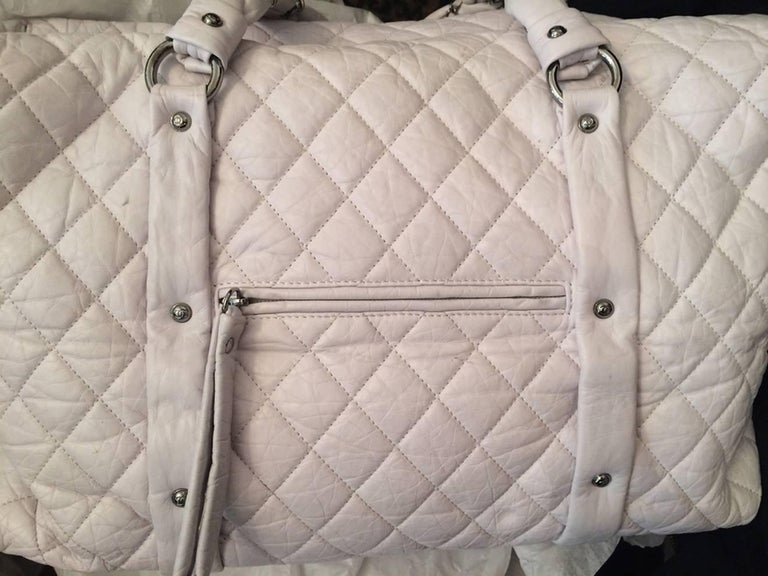 Large Off White Chanel Quilted Lambskin Tote Bag For Sale 5