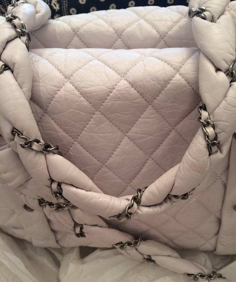 Women's Large Off White Chanel Quilted Lambskin Tote Bag For Sale