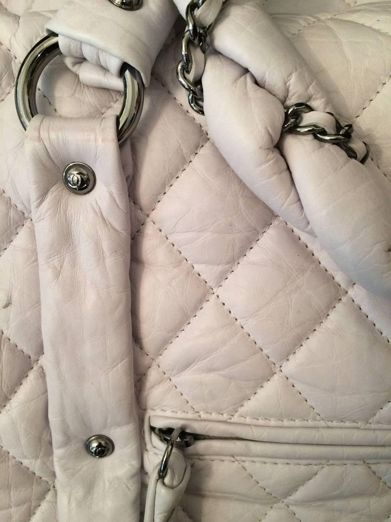 Large Off White Chanel Quilted Lambskin Tote Bag For Sale 3