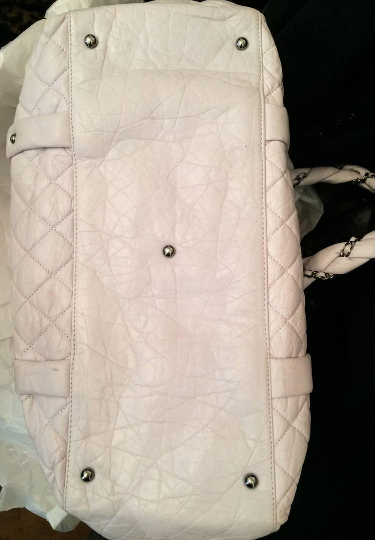 Large Off White Chanel Quilted Lambskin Tote Bag For Sale 4