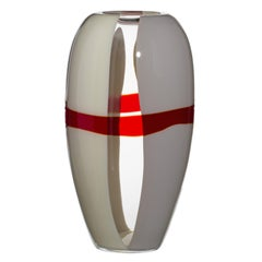 Large Ogiva Vase in Grey, White and Red by Carlo Moretti