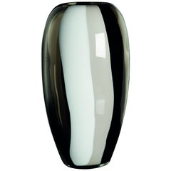 Large Ogiva Vase in White, Grey and Black by Carlo Moretti