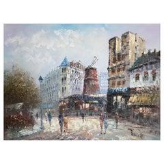 "Large oil - Caroline Burnett ""Animation in front of the Moulin Rouge - Paris"""