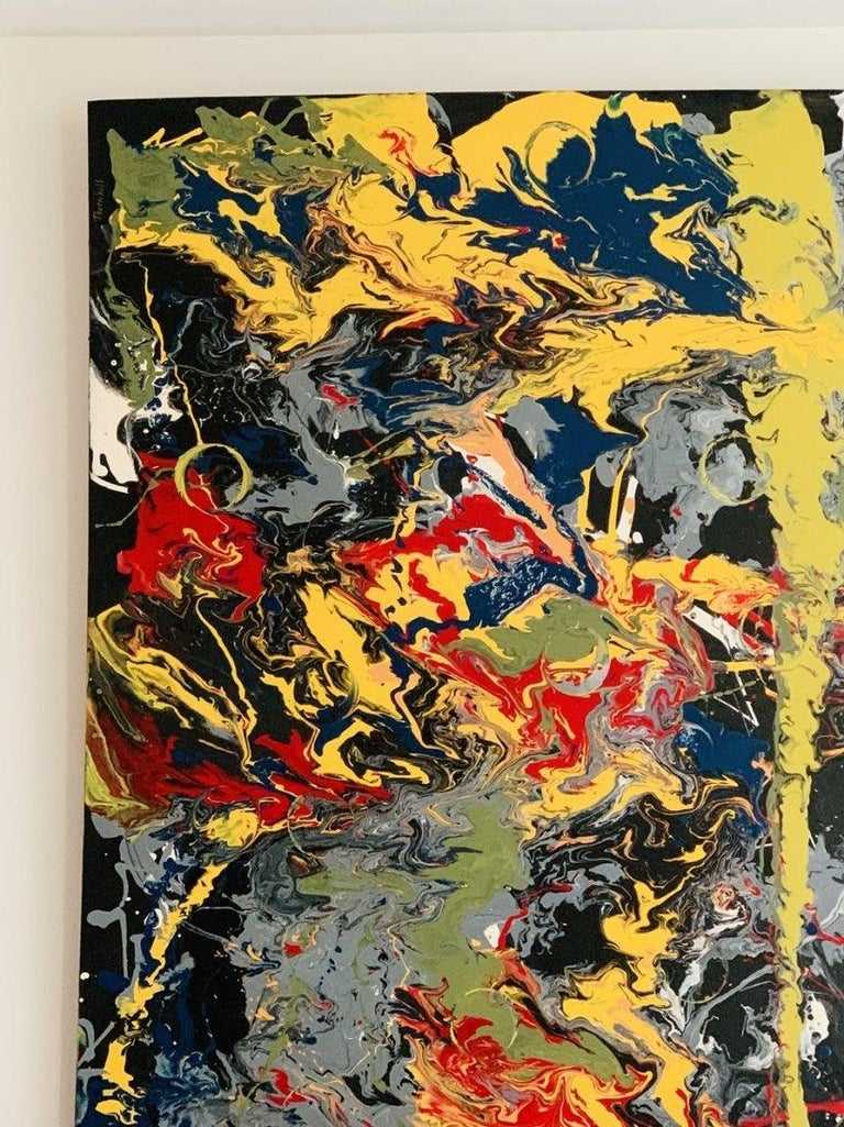 Modern Large Oil & Enamel Painting by Dan R. Thornhill S-Dt2 For Sale