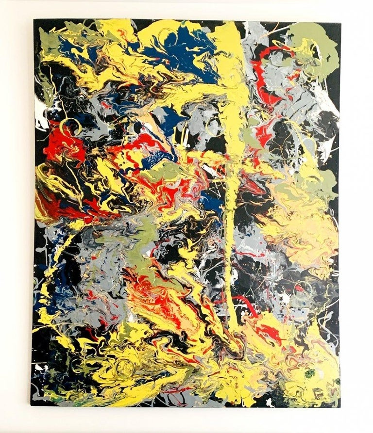 Large Oil & Enamel Painting by Dan R. Thornhill S-Dt2 In Good Condition For Sale In Los Angeles, CA