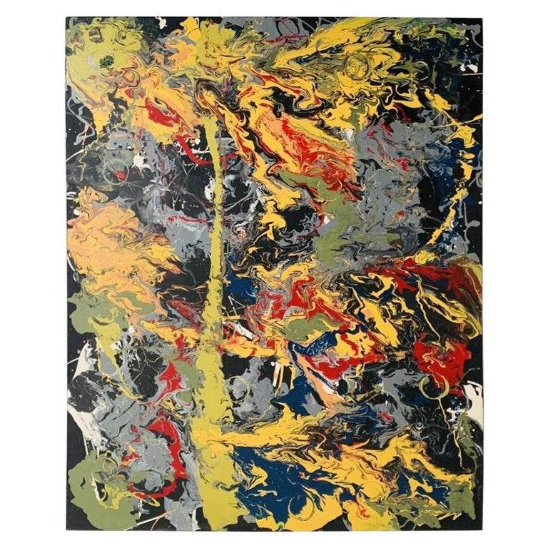Large Oil & Enamel Painting by Dan R. Thornhill S-Dt2 For Sale