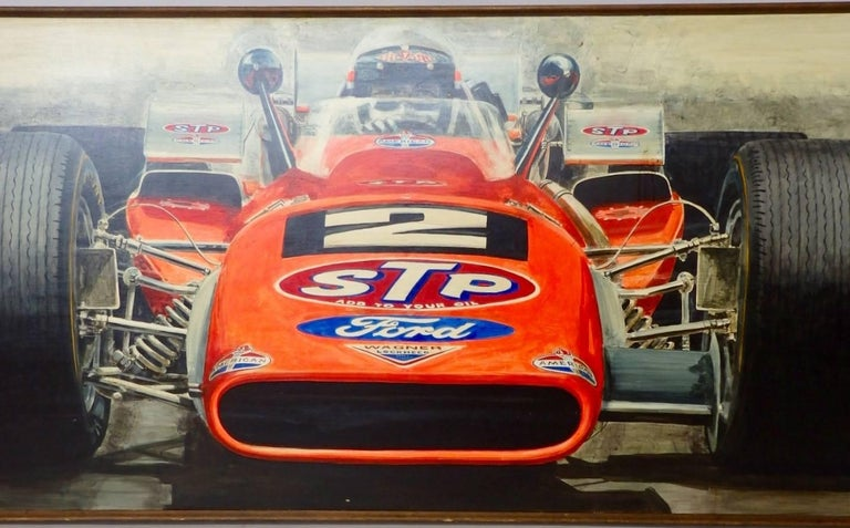 Amazing detailed oil on board painting of Mario Andrettis Brawner Hawk no. 2 STP Andy Granetelli race car. Winner of the 1969 Indy 500.